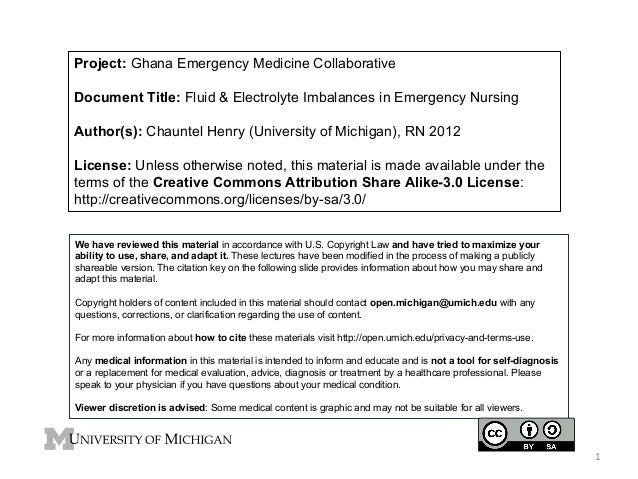 Project: Ghana Emergency Medicine Collaborative Document Title: Fluid & Electrolyte Imbalances in Emergency Nursing Author...