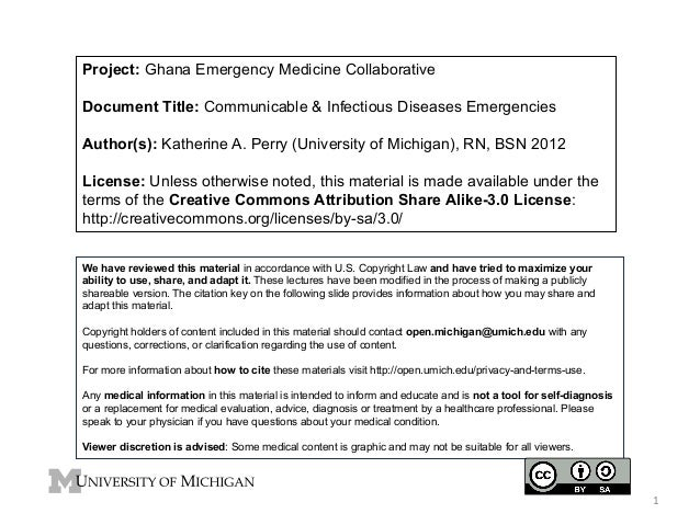 Project: Ghana Emergency Medicine Collaborative Document Title: Communicable & Infectious Diseases Emergencies Author(s): ...