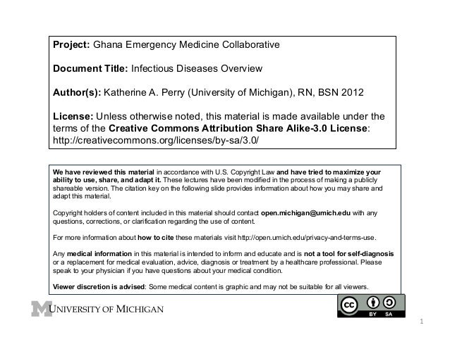 Project: Ghana Emergency Medicine Collaborative Document Title: Infectious Diseases Overview Author(s): Katherine A. Perry...