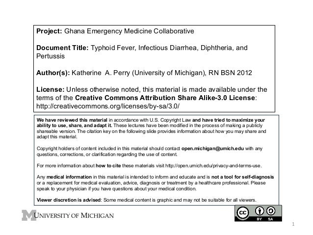 Project: Ghana Emergency Medicine Collaborative Document Title: Typhoid Fever, Infectious Diarrhea, Diphtheria, and Pertus...