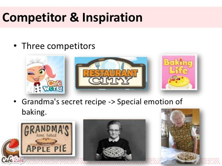 Competitor & Inspiration • Three competitors • Grandmas secret recipe -> Special emotion of   baking.