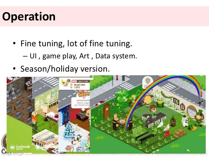 Operation • Fine tuning, lot of fine tuning.   – UI , game play, Art , Data system. • Season/holiday version.