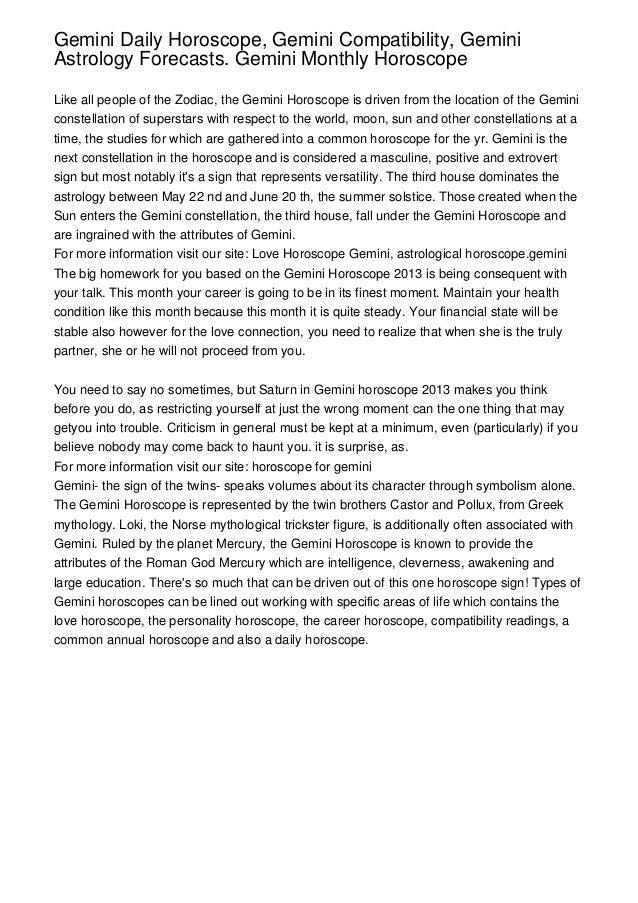 Gemini Daily Horoscope Gemini Compatibility Geminiastrology Forecasts Gemini Monthly Horoscopelike All People Of
