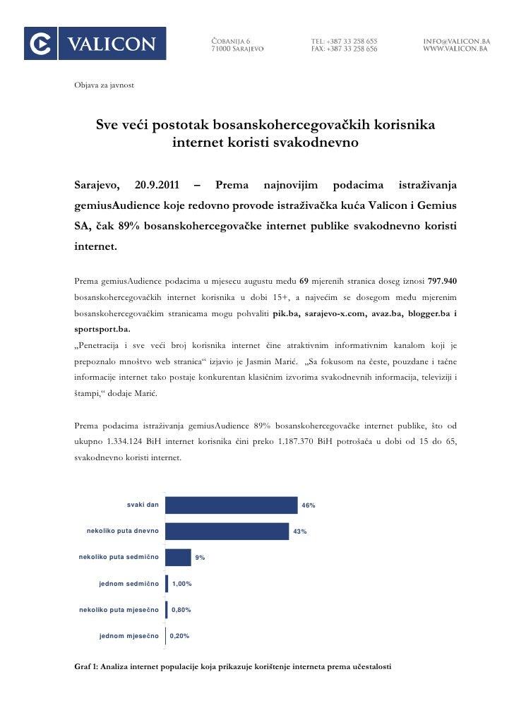 Objava za javnost      Sve veći postotak bosanskohercegovačkih korisnika                  internet koristi svakodnevnoSara...
