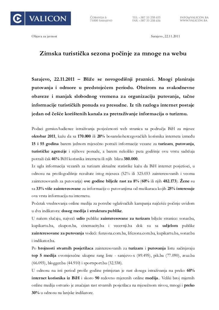 Objava za javnost                                                   Sarajevo, 22.11.2011     Zimska turistiĉka sezona poĉi...
