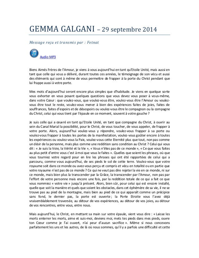GEMMA GALGANI – 29 septembre 2014  Message reçu et transmis par : Fetnat  Audio MP3  Biens Aimés Frères de l'Amour, je vie...