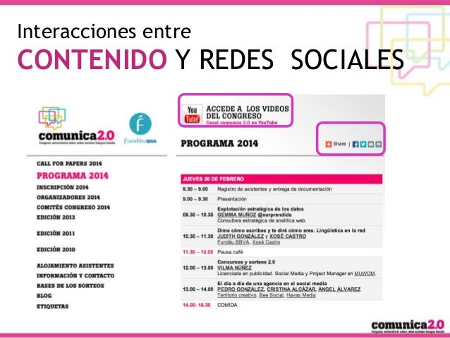 Interacciones entre  CONTENIDO Y REDES SOCIALES  #OpenDMGG