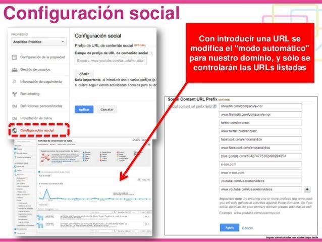 """Configuración social Con introducir una URL se modifica el """"modo automático"""" para nuestro dominio, y sólo se controlarán l..."""
