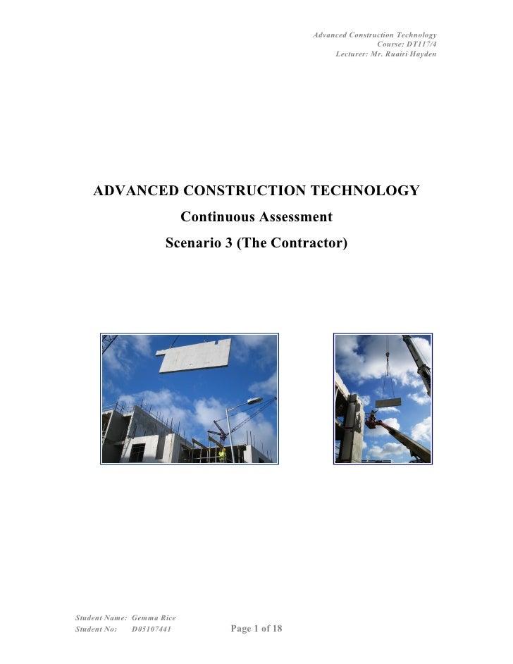 Advanced Construction Technology                                                                 Course: DT117/4          ...