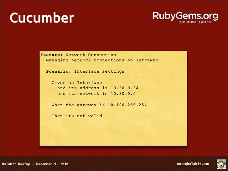 Cucumber  Feature: Network Connection    Managing network connections on intraweb    Scenario: Interface settings      Giv...