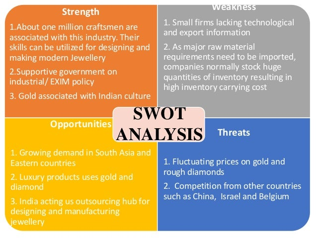 swot analysis of gems and jewellery industry India is a leading player in the global gems and jewellery market the gems and jewellery industry occupies an important position in the dubai etc strengths swot analysis the gemsand jewelry industry has been growing rapidly andhas become one of the most profitable industries.
