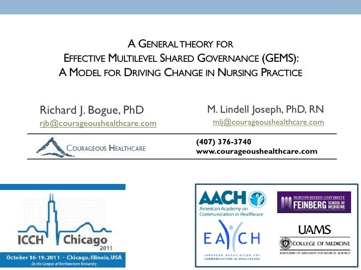 A GENERAL THEORY FOR     EFFECTIVE MULTILEVEL SHARED GOVERNANCE (GEMS):    A MODEL FOR DRIVING CHANGE IN NURSING PRACTICER...