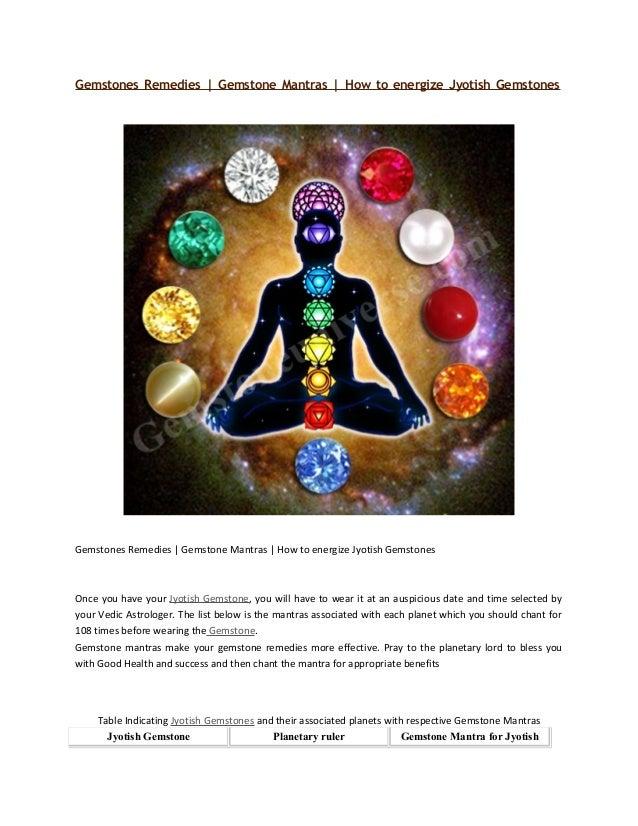 Gemstones Remedies Gemstone Mantras How To Energize