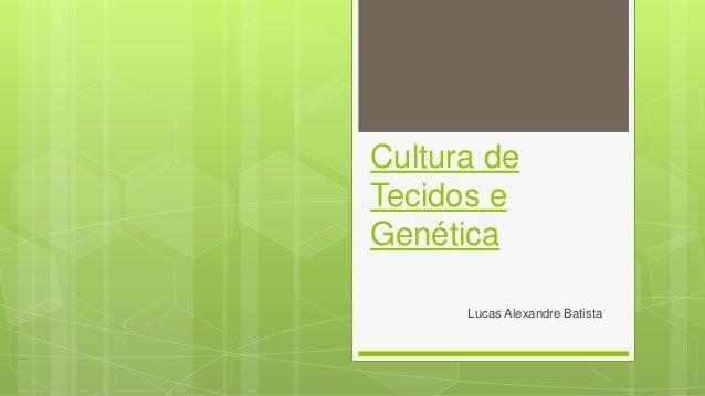 Cultura de Tecidos e Genética Lucas Alexandre Batista