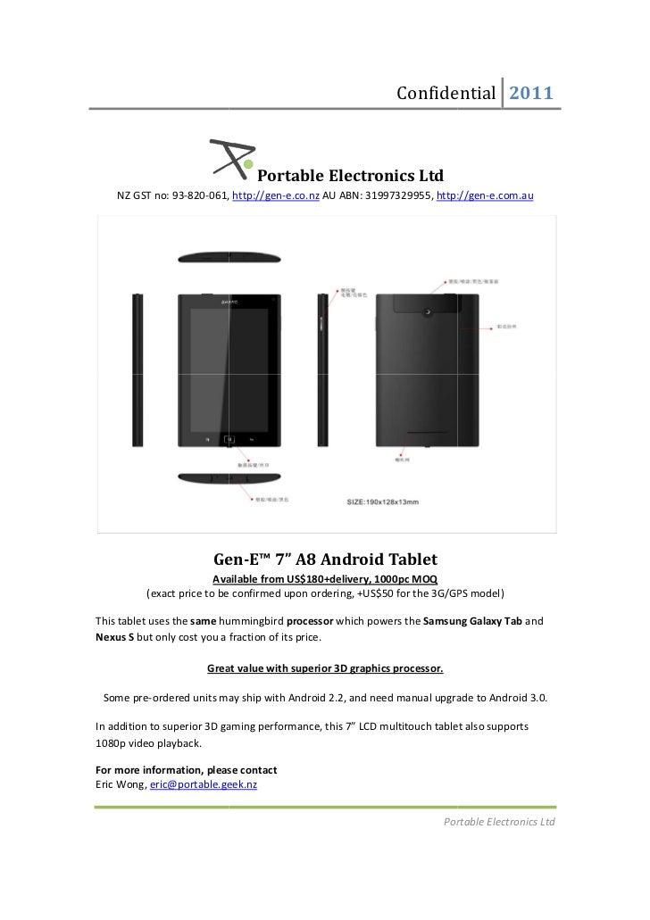 Confidential 2011                                 Portable Electronics Ltd    NZ GST no: 93-820-061, http://gen-e.co.nz AU...