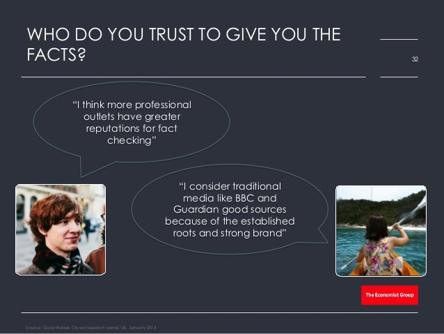 """WHO DO YOU TRUST TO GIVE YOU THE FACTS? Source: Good Rebels Crowd research panel, UK, January 2015 32 """"I consider traditio..."""