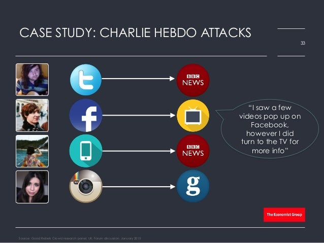"""CASE STUDY: CHARLIE HEBDO ATTACKS Source: Good Rebels Crowd research panel, UK, Forum discussion, January 2015 33 """"I saw a..."""