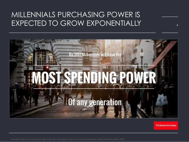 MILLENNIALS PURCHASING POWER IS EXPECTED TO GROW EXPONENTIALLY Source: Kit, Yarrow and O'Donnell, Jayne. Gen BuY: How Twee...