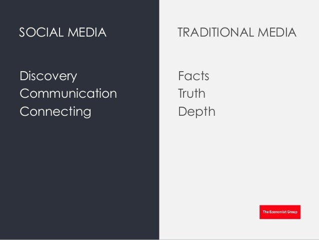 SOCIAL MEDIA Discovery Communication Connecting Facts Truth Depth TRADITIONAL MEDIA