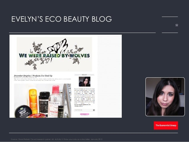 EVELYN'S ECO BEAUTY BLOG Source: Good Rebels Crowd research panel, UK, Activity 5: Draw your role as a storyteller, Januar...