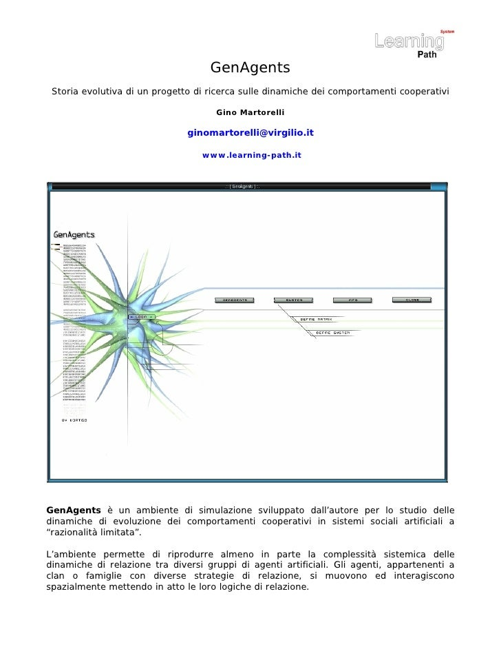 GenAgents  Storia evolutiva di un progetto di ricerca sulle dinamiche dei comportamenti cooperativi                       ...