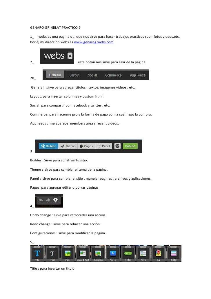 GENARO GRINBLAT PRACTICO 91_ webs es una pagina util que nos sirve para hacer trabajos practicos subir fotos videos,etc.Po...