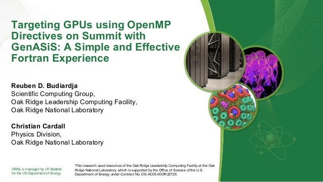 ORNL is managed by UT-Battelle for the US Department of Energy Targeting GPUs using OpenMP Directives on Summit with GenAS...