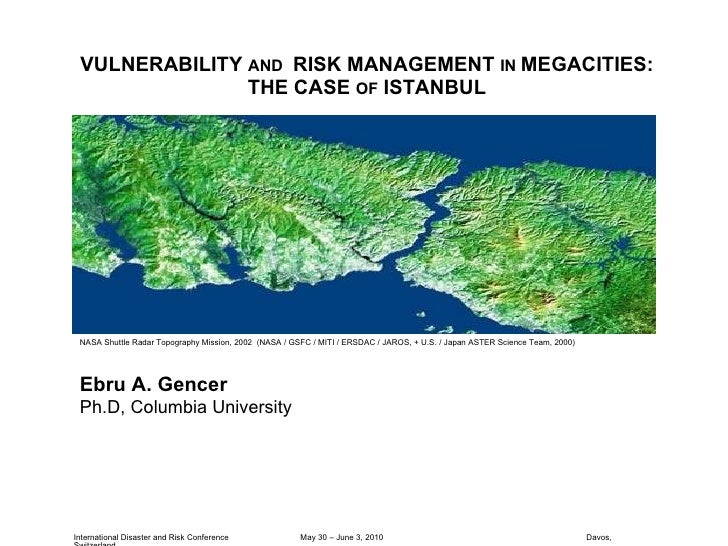 VULNERABILITY  AND  RISK MANAGEMENT  IN  MEGACITIES: THE CASE  OF  ISTANBUL International Disaster and Risk Conference  Ma...