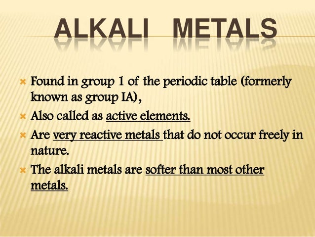 alkali metals found in group 1 of the periodic table - Periodic Table Alkali Metals Reactivity