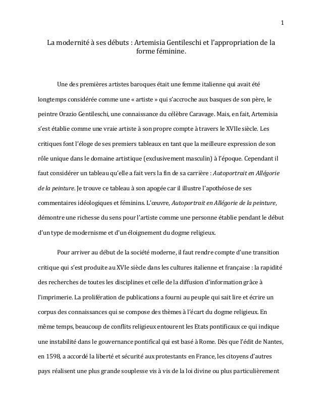 1   La modernité à ses débuts : Artemisia Gentileschi et l'appropriation de la                               forme féminin...