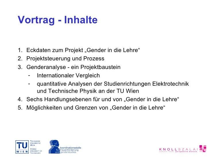 Gender in die Lehre – ein Projekt an der TU Wien Slide 2