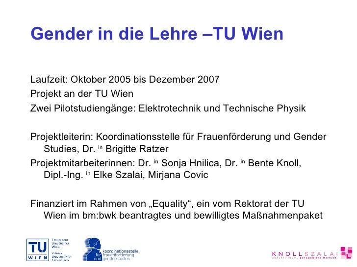 Gender in die Lehre – ein Projekt an der TU Wien Slide 3
