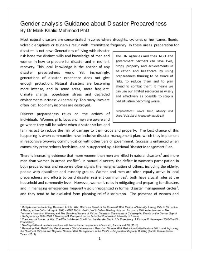 Gender analysis Guidance about Disaster PreparednessBy Dr Malik Khalid Mehmood PhDMost natural disasters are concentrated ...