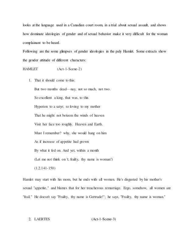 frailty thy name is woman hamlet essay