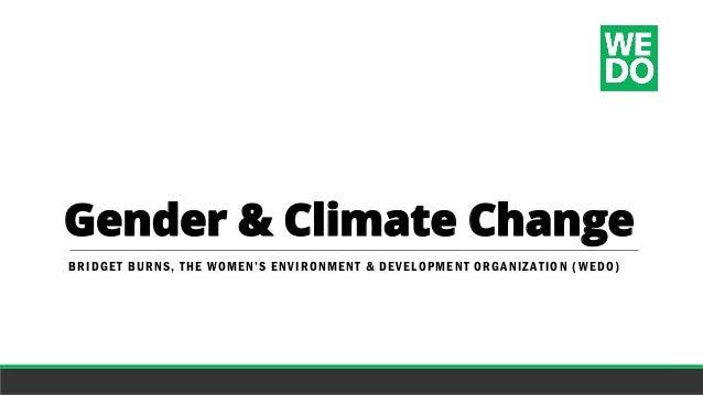 Gender & Climate Change BRIDGET BURNS, THE WOMEN'S ENVIRONMENT & DEVELOPMENT ORGANIZATIO N (WEDO)