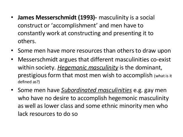 messerschmidts theory of hegemonic masculinity essay Comparative anaylsis of hegemonic masculinity - this paper compares connell and messerschmidt taxi driver masculinity theory analysis - taxi.