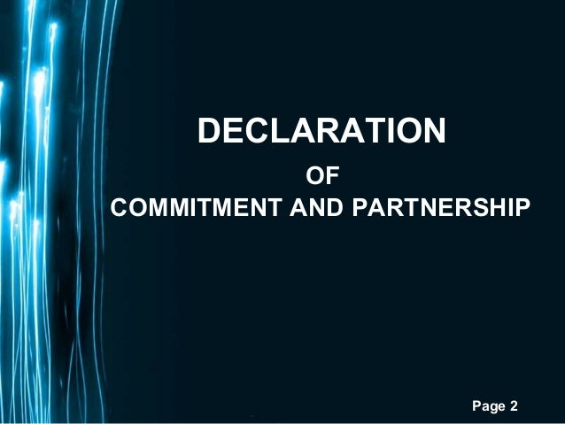 Page 2DECLARATIONOFCOMMITMENT AND PARTNERSHIP