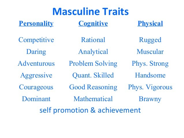 the definition and characteristics of masculinity Multiple masculinities a content analysis of men in the ebony, and jet, in order to identify various characteristics masculinity is defined and how men have.