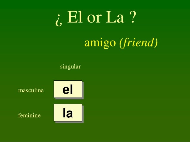 ¿ El or La ? amigo (friend) singular  masculine  el  feminine  la