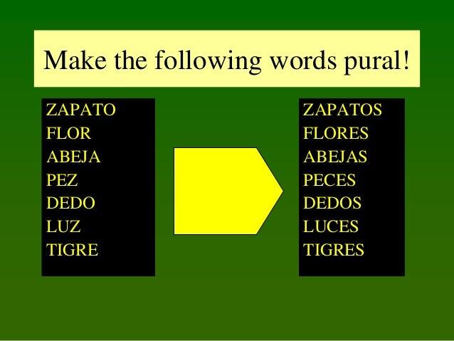 Make the following words pural! ZAPATO FLOR ABEJA PEZ DEDO LUZ TIGRE  ZAPATOS FLORES ABEJAS PECES DEDOS LUCES TIGRES