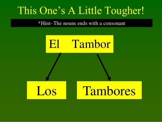 This One's A Little Tougher! *Hint- The nouns ends with a consonant  El  Los  Tambor  Tambores
