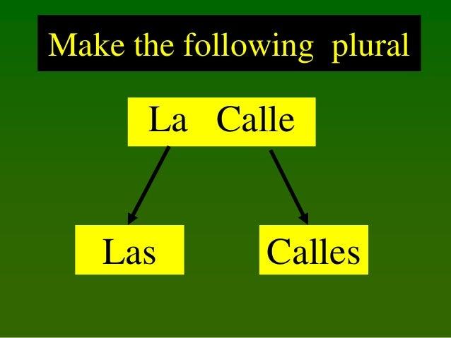 Make the following plural  La Calle  Las  Calles