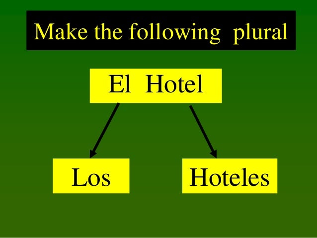 Make the following plural  El Hotel  Los  Hoteles