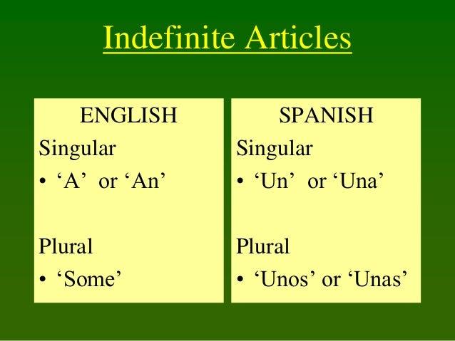 Indefinite Articles ENGLISH Singular • 'A' or 'An'  SPANISH Singular • 'Un' or 'Una'  Plural • 'Some'  Plural • 'Unos' or ...