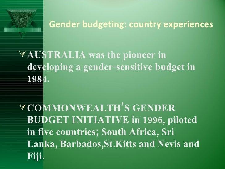 gender budgeting initiative A 2014 commonwealth study into the gender budgeting initiatives of four 'early  adopters' – australia, bangladesh, india and uganda – demonstrated that.