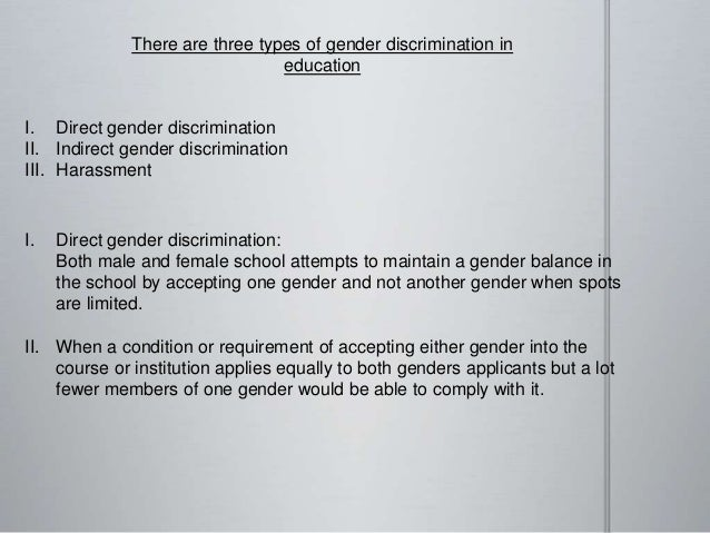 Examples of indirect sex discrimination