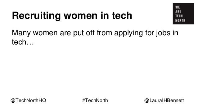 Recruiting women in tech Many women are put off from applying for jobs in tech… … lack of role models @TechNorthHQ #TechNo...