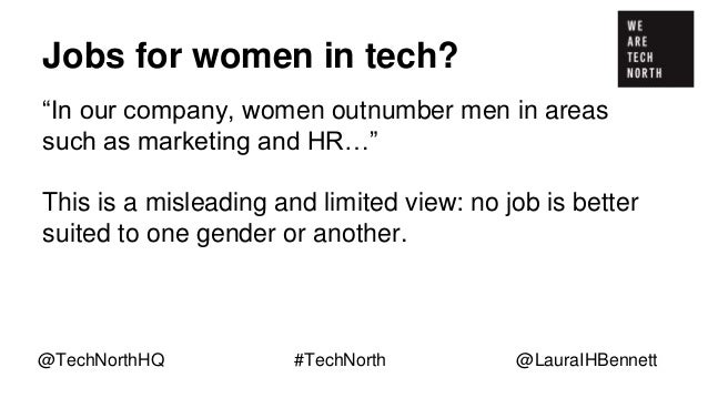 """Jobs for women in tech? """"In our company, women outnumber men in areas such as marketing and HR…"""" This is a misleading and ..."""