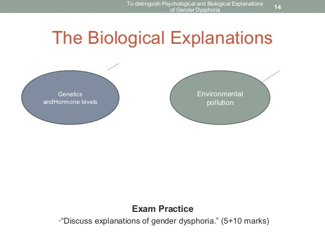 discuss two biological explanations of There are two explanations which can be placed under the umbrella term of 'psychological explanations', the psychodynamic and cognitive approaches the.