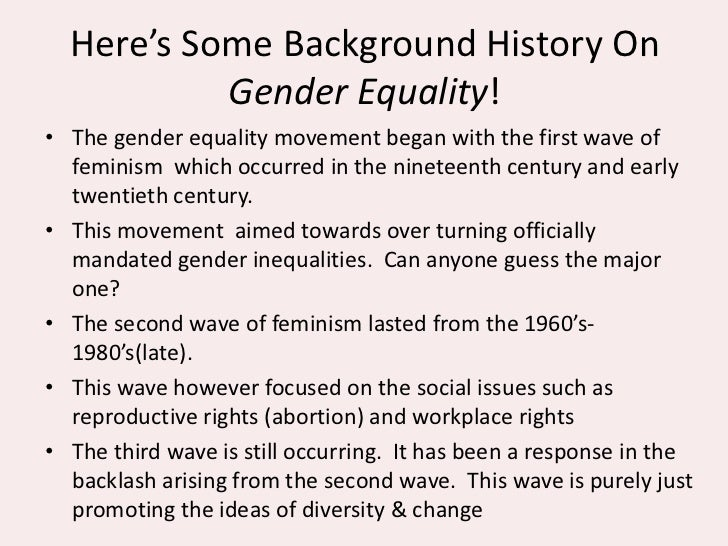 an overview of equality in 19th century A short overview of gender equality training  in the 19th century women's movements were among the most important social movements in europe and north america.